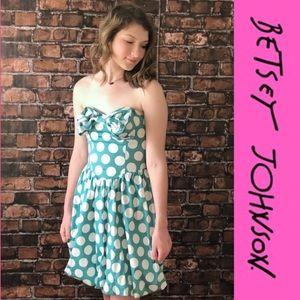 Betsey Johnson Polka Dot Teal Tiffany Blue Dress